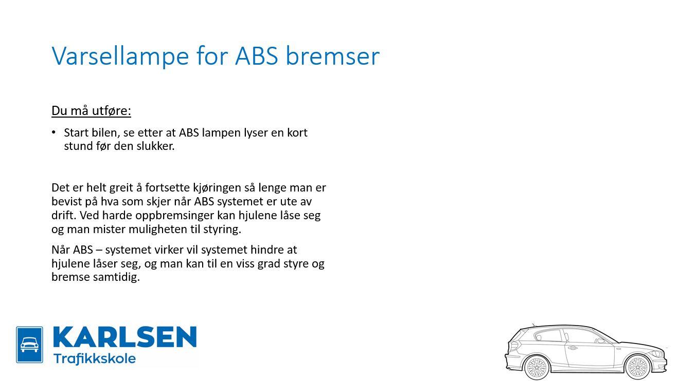 varsellampe for abs bremser